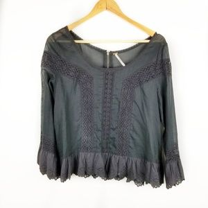 Free People Medium Green and Black Lace Top